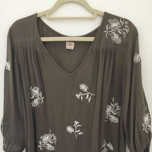 Women's Oneil Brown & white embroidered LS Blouse